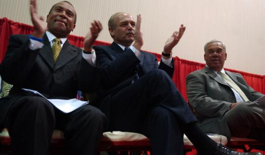 'What I came to celebrate is the wonderful example you set for all of us,' said Governor Deval Patrick (left), with House Speaker Salvatore F. DiMasi and Mayor Thomas M. Menino.