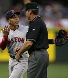 He'd already been ejected, but Red Sox shortstop Julio Lugo continued the argument with third base umpire Angel Hernandez in the fifth inning. Manager Terrry Francona also was tossed.