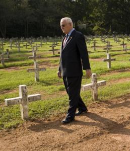 The Rev. Carroll Pickett at the Huntsville, Texas, prison cemetery.