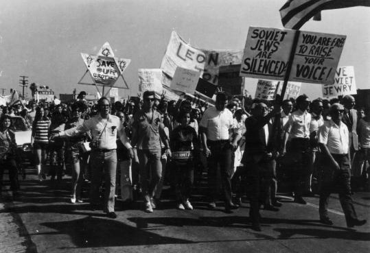 Activists march in support of Soviet Jews during a 1969 Simchat Torah rally in Los Angeles.
