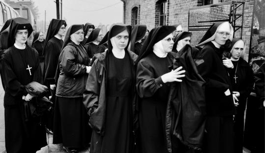 Nuns visit Auschwitz in a scene from 'Constantine's Sword,' which examines the church's relations with non-believing 'others' since the fourth century.
