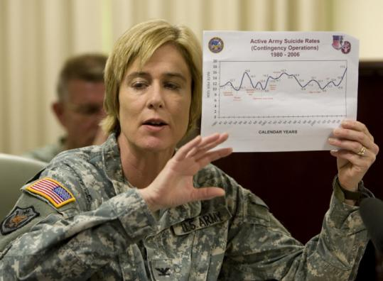 Colonel Elspeth Ritchie discussed efforts to understand suicide among US soldiers in Iraq and Afghanistan yesterday.