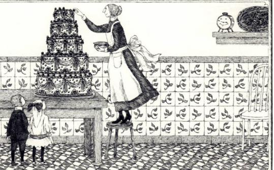 An illustration from Muriel Spark's 'Very Fine Clock,' by artist Edward Gorey, who was also a costume and set designer.
