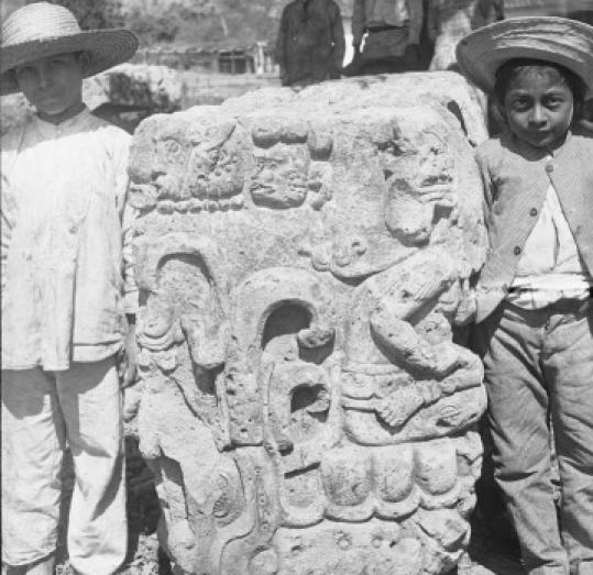 Edmund Lincoln took this photo of monuments in Copan, Honduras in 1893.