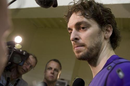 Lakers forward Pau Gasol talks with reporters during Sunday's practice.