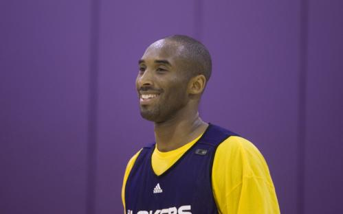 Lakers guard Kobe Bryant smiles during Sunday's practice.
