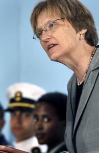 At an ROTC ceremony, Harvard president Drew Gilpin Faust criticized the 'don't ask, don't tell' policy.