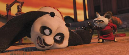 Po, the giant panda voiced by Jack Black, dreams of being a kung fu expert and begins his martial arts study under Master Shifu, voiced by Dustin Hoffman, in the DreamWorks film.