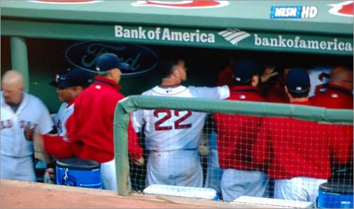 Continuing with the theme of the night, Kevin Youkilis and Manny Ramirez appeared to get into it in the Red Sox dugout between the fourth and fifth innings. NESN showed footage of the incident when they returned from commercial.