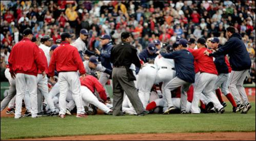 Players from both teams ran on the field during the brawl.