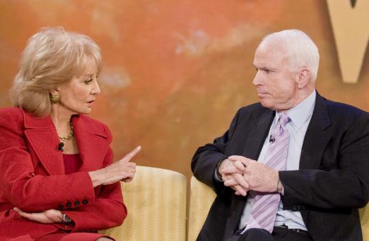 Senator John McCain, here talking to Barbara Walters on 'The View,' looks even older than 71 in high-definition.