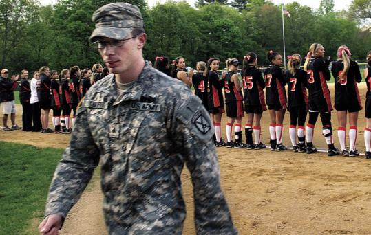 Shane Duffy walked of the field last month after being honored for his service to the country.
