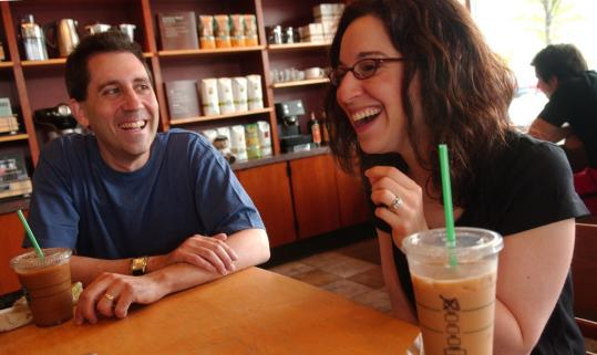 Risa and Ken Sugarman recalled their experiences with JDate over coffee at a Starbucks in Framingham. The couple, married since October 2007, had their first date in a Starbucks.