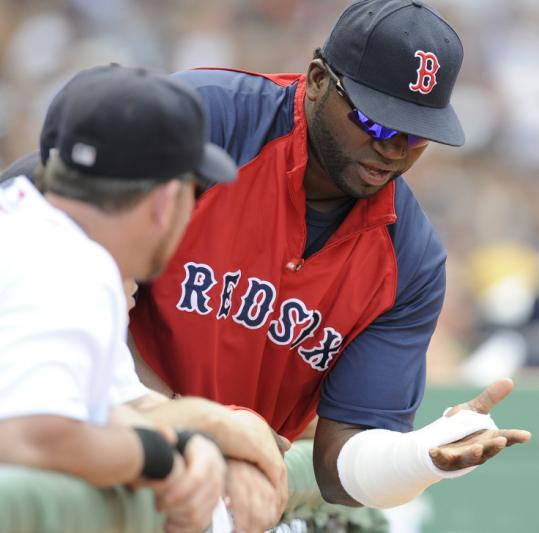David Ortiz was feeling much more comfortable with his new, smaller cast. He will have his left wrist evaluated soon.