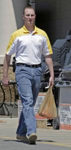 Kevin Jensen carried his handgun on his hip after shopping at The Home Depot in Provo, Utah.