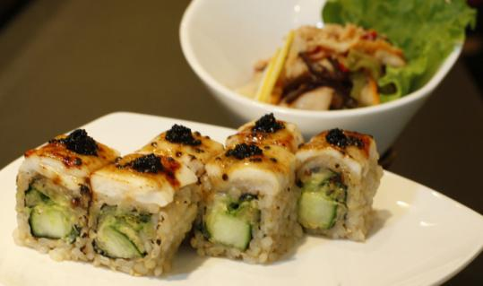 The 'tuna gone wild' roll with shino style ika salad.