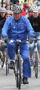 Mayor Menino,on May 12, led cyclists in the first Bay State Bike Week ride.