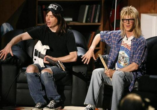 Mike Myers (left) and Dana Carvey resurrected their 'Wayne's World' shtick at the MTV Movie Awards earlier this month.