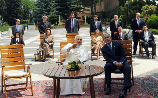 Pope Benedict XVI and President Bush spoke at the Vatican yesterday before Bush visited France in a tour of Europe.