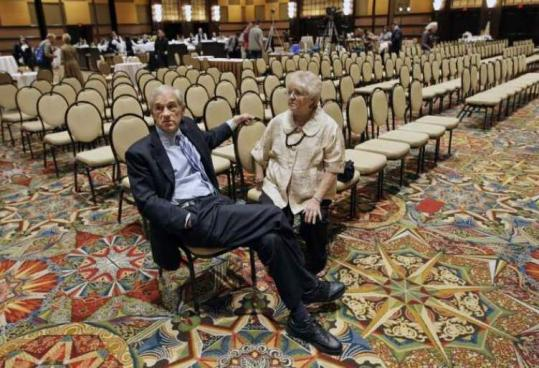 Representative Ron Paul of Texas sat with his wife, Carol, before a rally in Houston on Thursday. Paul has announced a new effort to help elect libertarian-leaning Republicans.