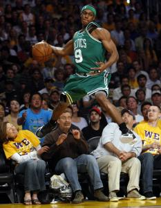 Rajon Rondo got some serious hang time as he went into the crowd to retrieve a loose ball.