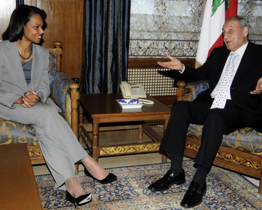 US Secretary of State Condoleezza Rice met with Lebanese Parliament Speaker Nabih Berri yesterday during a surprise visit to Lebanon to bolster the troubled country's new president.