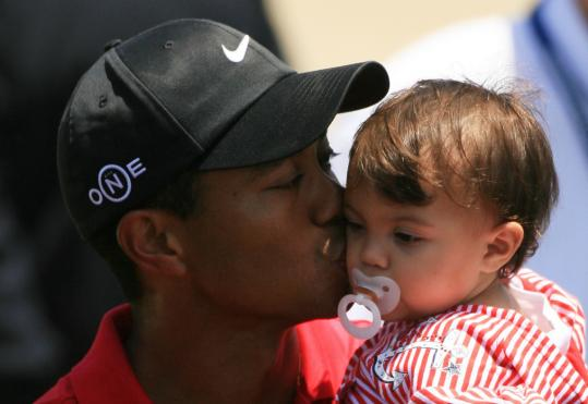 After playing 91 holes over five days at Torrey Pines, Tiger Woods finally gets to play with his daughter, Sam Alexis, after edging Rocco Mediate for his third US Open title.