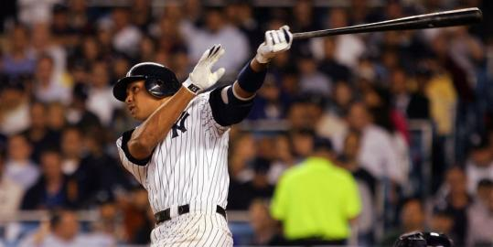 Alex Rodriguez swats a home run in the third inning against the Padres at Yankee Stadium, the fourth straight game he's connected for a homer.