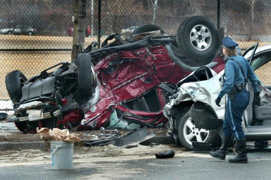 The results of a fatal accident that occurred on Nonantum Road in Brighton in 2004. The road, which has a long history of serious collisions, carries between 10,000 and 25,000 vehicles a day.