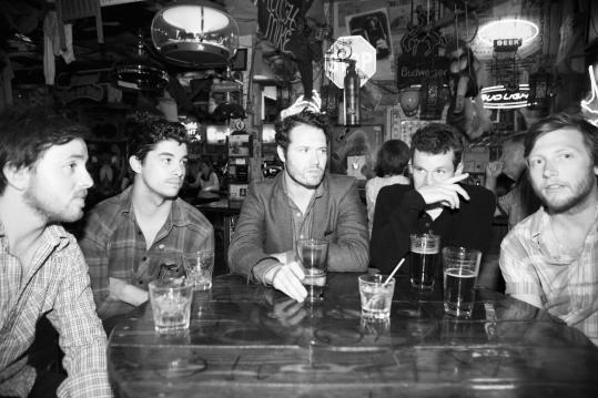 From left: Kelly Winrich, Matt Vasquez, Sean Walker, Brandon Young, and Jon Jameson of the San Diego band Delta Spirit.