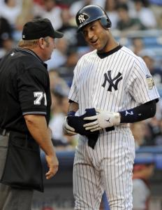 Derek Jeter's talk with umpire Brian Runge after he was called out on strikes in the third was to no avail.
