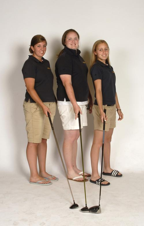 Three amigos (from left): Joanna Leroy, Courtney Lee, and Rachel Sederberg of the Notre Dame of Hingham golf team.