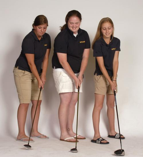 (From left0: Notre Dame of Hingham's Joanna Leroy, Courtney Lee, and Rachel Sederberg show their championship form.