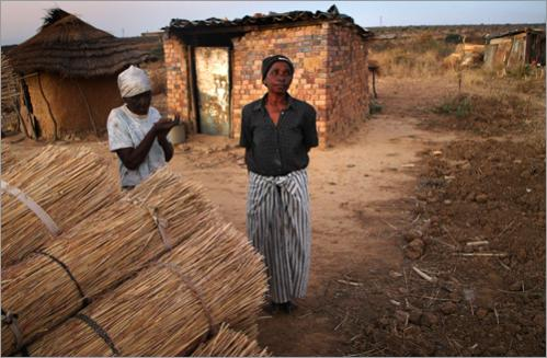 Grandmothers whose children died of AIDS stand in front of their homes in the countryside June 23, 2008 outside of Bulawayo, Zimbabwe.