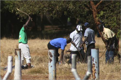 Members of the ruling party Zanu PF militia beat unidentified people at the Movement for Democratic Change (MDC) party rally in Harare, Sunday, June 22, 2008. The main opposition party was given approval by the courts to hold a rally ahead of the run off election set for June 27, but some thousands of ruling party militants armed with sticks and stones blockaded the site.
