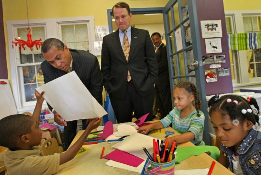 Governor Deval Patrick (left) and Lieutenant Governor Timothy P. Murray at the Dorchester Boys and Girls Club.