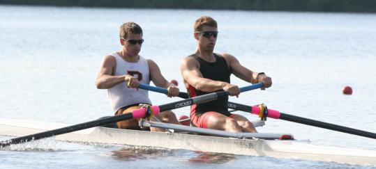 Ben Harrison (right) with Alex Hearne at the Olympic trials at Princeton, N.J. Harrison first tried rowing at the Noble & Greenough School.