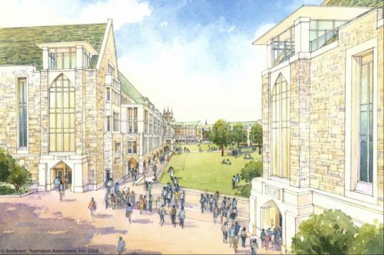 An architectural rendering of the gateway to Boston College's plan for its Middle Campus in Chestnut Hill.