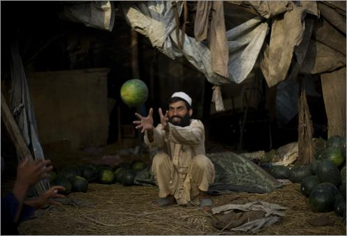A Pakistani vendor collects watermelons at his shop in a vegetable market on the outskirts of Islamabad, Pakistan, Monday, June 16, 2008. Pakistani stocks experienced another downturn Monday, tumbling nearly 500 points amid political and economic uncertainty that has undermined investor confidence.