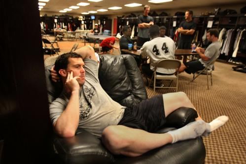 Nixon relaxes in a reclining chair in the Sidewinders' clubhouse.