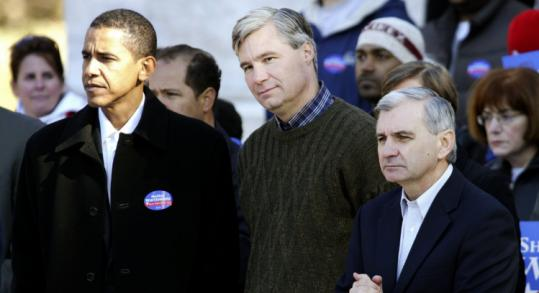 Senators Barak Obama (left) and Jack Reed (right) with then-Senate candidate Sheldon Whitehouse in Providence.