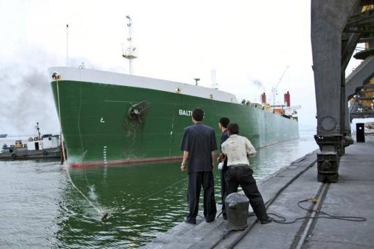 The MV Baltimore arrived in the port of Nampo, North Korea, on Sunday, carrying 37,000 tons of bulk US wheat as part of a major expansion of international aid.