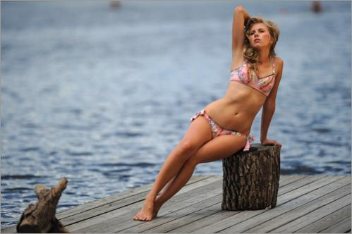 Betsey Johnson bikini, $200 at Bloomingdales. Shot on location at the Riverside Boat Club, Cambridge, with hair by Shaun O'Connor of G2O Spa and Salon, and make-up by Jeannie Vincent of Fresh. Model: Micaela, Maggie, Inc.