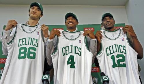 The Boston Celtics introduced their 2008 draft choices Tuesday afternoon at their practice facility in Waltham. (From left): Semih Erden, JR Giddens, and Bill Walker show off their new jerseys.