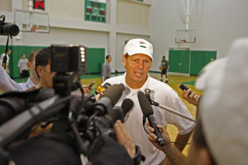 Boston Celtics general manager Danny Ainge answers questions from the media during the team's minicamp in Waltham. The camp, which features mostly rookies and free agents, runs through Saturday.