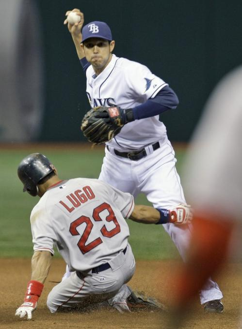 Boston Red Sox's Julio Lugo (23) hits Tampa Bay Rays shortstop Jason Bartlett on the leg as Bartlett was attempting to turn a fourth-inning double play. Umpire Sam Holbrook ruled that Lugo interfered with Bartlett and called Red Sox runner Jacoby Ellsbury out at first to complete the double play.