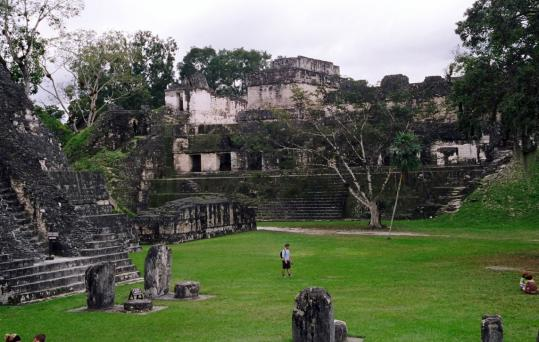 In Guatemala's Tikal National Park, among the Maya ruins is the Central Acropolis in the Great Plaza, the seat of administrative and political power and a vantage point for watching games.