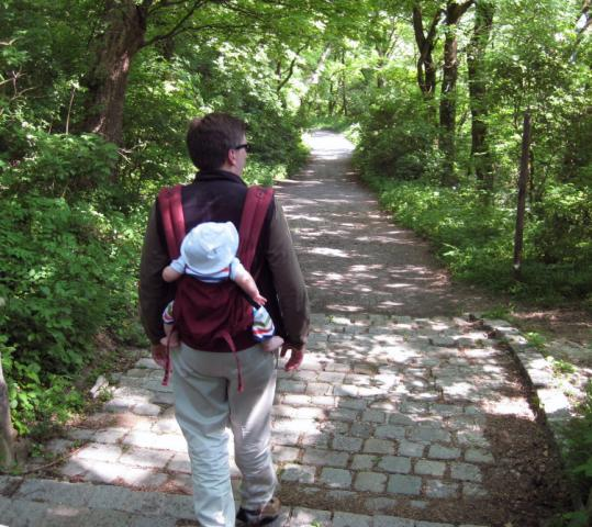 In the Vienna Woods, the author's husband, Ian Dennis, 36, and son, John, 8 months, head down a path on Kahlenberg.