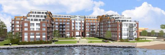 An artist's rendering of the 196-unit Boston East development on Border Street as put forth by the developer, Trinity Financial.