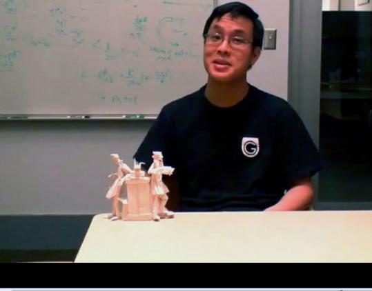On MIT TechTV, graduate student Brian Chan demonstrates how to fold an origami version of the image on the MIT seal, 'Mens et Manus.'